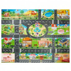 Toy Plastic Rug, Kids Carpet Playmat PVC Waterproof City Life Great For Playing With Cars and Toys - Baby, Children Educational Road Traffic Play Mat- Learning Carpets