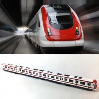 Train Model, 4pcs Toy Car Set Alloy City Rail Subway Train Model,1/64 Scale Alloy Subway/Car Model ToysPlay, Red White